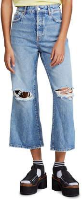 Free People Ranger Ripped Crop Wide Leg Jeans
