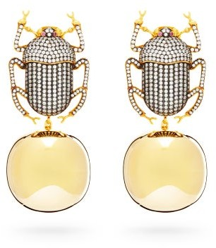 Begum Khan - Pharaoh Party Crystal & Gold Plated Clip Earrings - Womens - Silver Gold