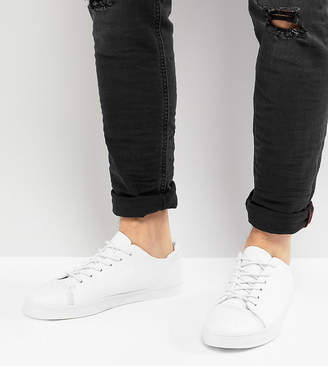 Asos Design DESIGN Wide Fit sneakers in white with toe cap