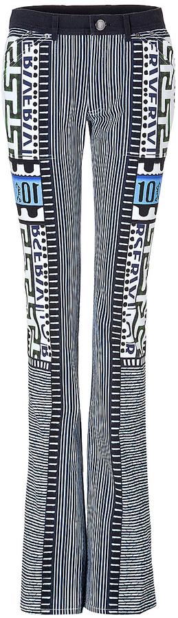 Mary Katrantzou Bloomberg Print Denim Pants in Multi