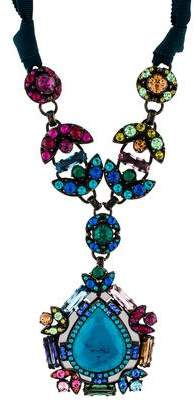 Lanvin Crystal & Ribbon Pendant Necklace