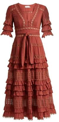 Zimmermann Corsair Deep V Neck Ruffled Cotton Midi Dress - Womens - Pink