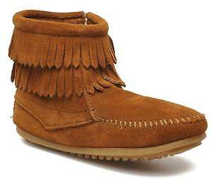 Minnetonka Kids's Double Fringe Bootie G Ankle Boots In Brown - Size Uk 2.5 / Eu