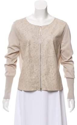 Fabiana Filippi Leather-Paneled Laser Cut Jacket