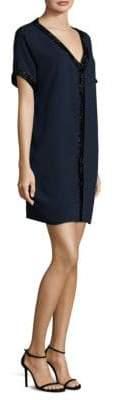 Carmen Marc Valvo Crepe V-Neck Herringbone Dress