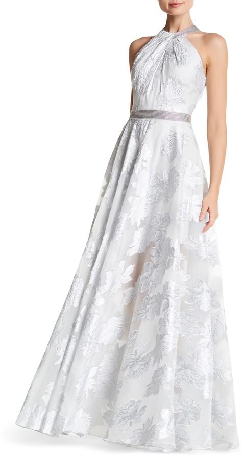 Carmen Marc ValvoCarmen Marc Valvo Embellished Halter Gown