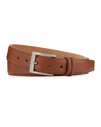 W. Kleinberg Basic Leather Belt with Interchangeable Buckles, Brown $145 thestylecure.com