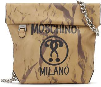 Moschino (モスキーノ) - MOSCHINO レザー ロゴプリント チェーン ショルダーバッグ ナチュラル 0