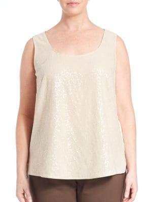 Lafayette 148 New York Silk Georgette Cleo Sequin-Front Blouse