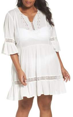 City Chic Embroidered Bell Sleeve Fit & Flare Dress