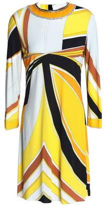 Emilio Pucci Embellished Printed Stretch-Jersey Mini Dress