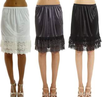 b73767859ee5 Melody Women's Double Layered Lace Satin Skirt Extender Half Slip 3 Pieces  Pack Set