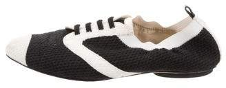 Chanel Knit Semi Pointed-Toe Sneakers