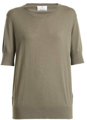 Allude Round-neck cotton-blend T-shirt