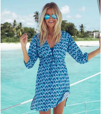0144141d93 Aspiga Sardinia Cotton Beach Kaftan Peacock Blue Print