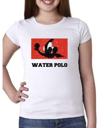 Hollywood Thread Switzerland Olympic - Water Polo - Flag - Silhouette Girl's Cotton Youth T-Shirt
