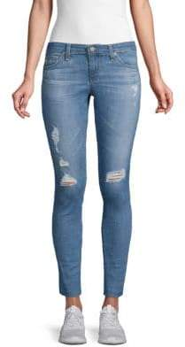 Ripped Super-Skinny Ankle Jeans