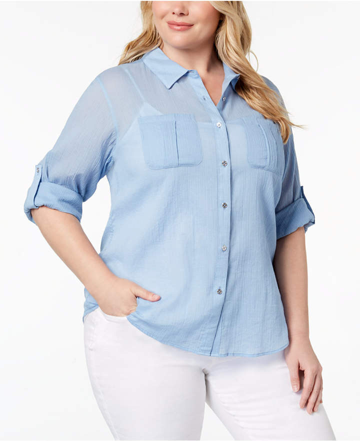 Plus Size Cotton Crinkle Shirt