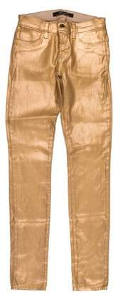J Brand Coated Metallic Low-Rise Jeans