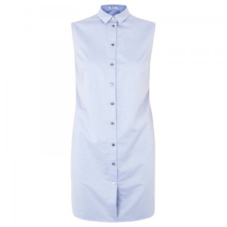 T by Alexander Wang Sleeveless cotton poplin shirt dress - Light Blue