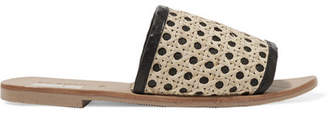 ST. AGNI Henni Leather And Rattan Slides - Beige