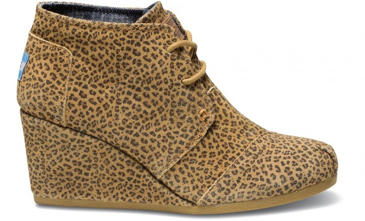 Toms Cheetah suede women's desert wedges