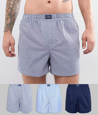 Polo Ralph Lauren 3 Pack Woven Boxers in Blue Stripe/Navy Gingham/Navy Solid