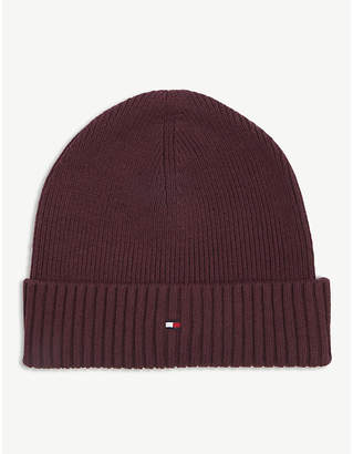Tommy Hilfiger Cotton and cashmere flag logo beanie hat