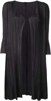 Pleats Please Issey Miyake mid-length pleated cardi-coat