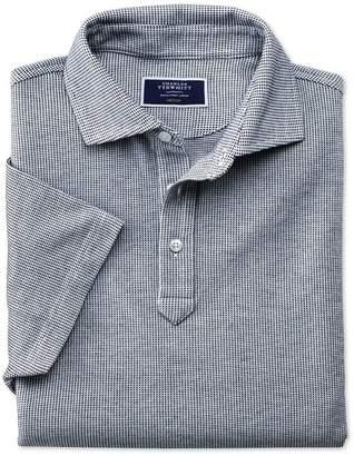 Charles Tyrwhitt White and Navy Birdseye Cotton Polo Size XS