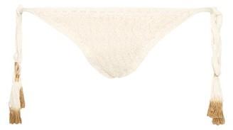 She Made Me Laharia Tie Side Crochet Bikini Briefs - Womens - Cream
