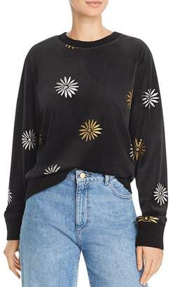 Splendid x Margherita Velluto Daisy Print Velour Sweatshirt