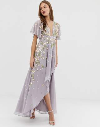 Asos Design DESIGN dipped hem maxi dress with 3D embelishment and ruffle sleeve