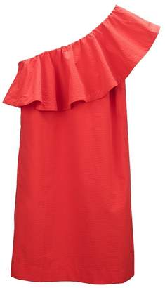 Cuyana Seersucker One-Shoulder Dress