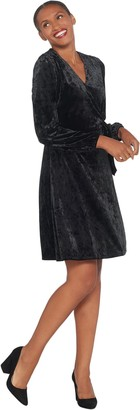Halston H By H by Petite Crushed Velvet Blouson Sleeve Knee- Length Dress
