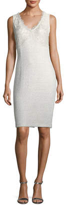 St. John Soft Metallic V-Neck Cocktail Sheath Dress