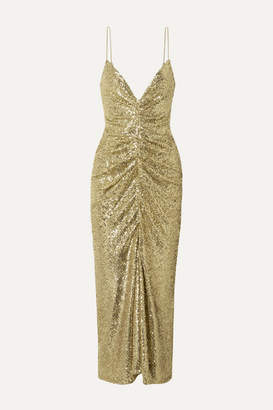 Monique Lhuillier Ruched Sequined Tulle Midi Dress - Gold