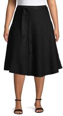 GABRIELLE Plus Knit Tie-Waist Flared Midi Skirt