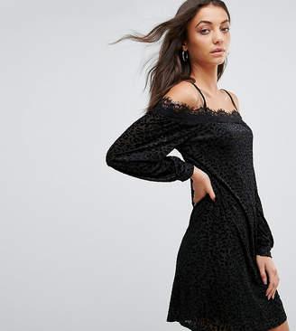 Fashion Union Tall Cold Shoulder Cami Dress In Leopard Burnout Velvet