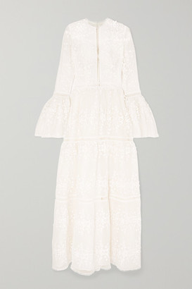 Costarellos Appliquéd Embroidered Tulle Gown - White
