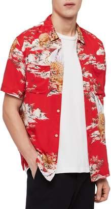AllSaints Indo Regular Fit Short Sleeve Sport Shirt