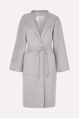 Max Mara Belted Brushed-cashmere Coat - Gray