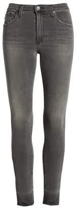 AG Jeans The Farrah High Waist Raw Hem Skinny Jeans