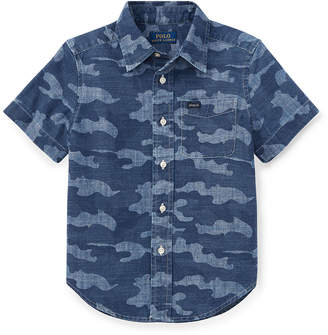 Ralph Lauren Childrenswear Short-Sleeve Button-Down Camo Shirt, Size 5-7