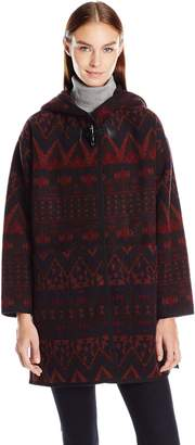 Kensie Women's Hooded Printed Wool Poncho with Toggle Closure