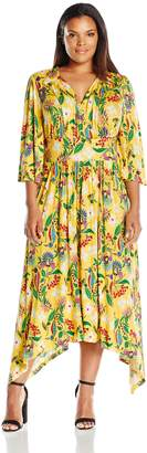 Melissa McCarthy Women's Plus Size Flutter Sleeve Maxi Dress