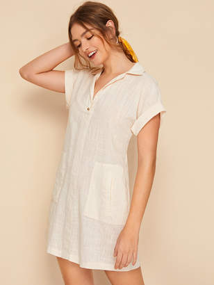 Shein Rolled Sleeve Button Front Pocket Side Dress