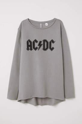 H&M Sweatshirt with Printed Design - Gray/AC/DC - Women