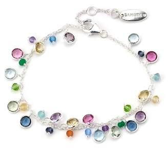 Samuel B Jewelry Sterling Silver Bezel Set Multi Gemstone Bracelet