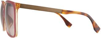 Fendi Metal/Plastic Aviator Sunglasses, Burgundy